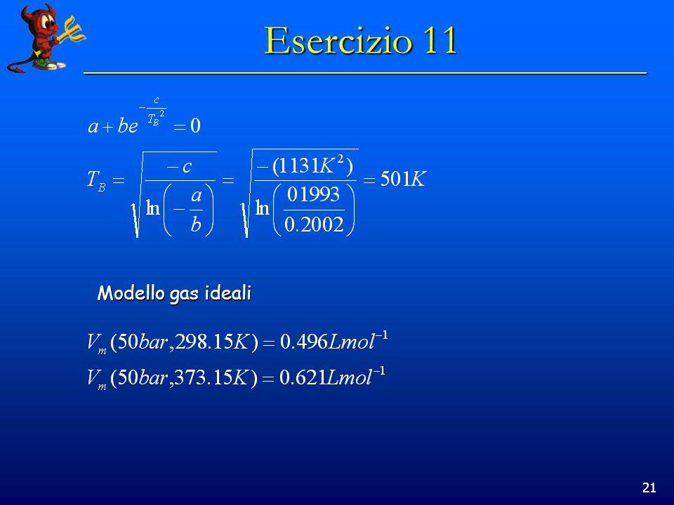 21 Esercizio 11 Modello gas ideali