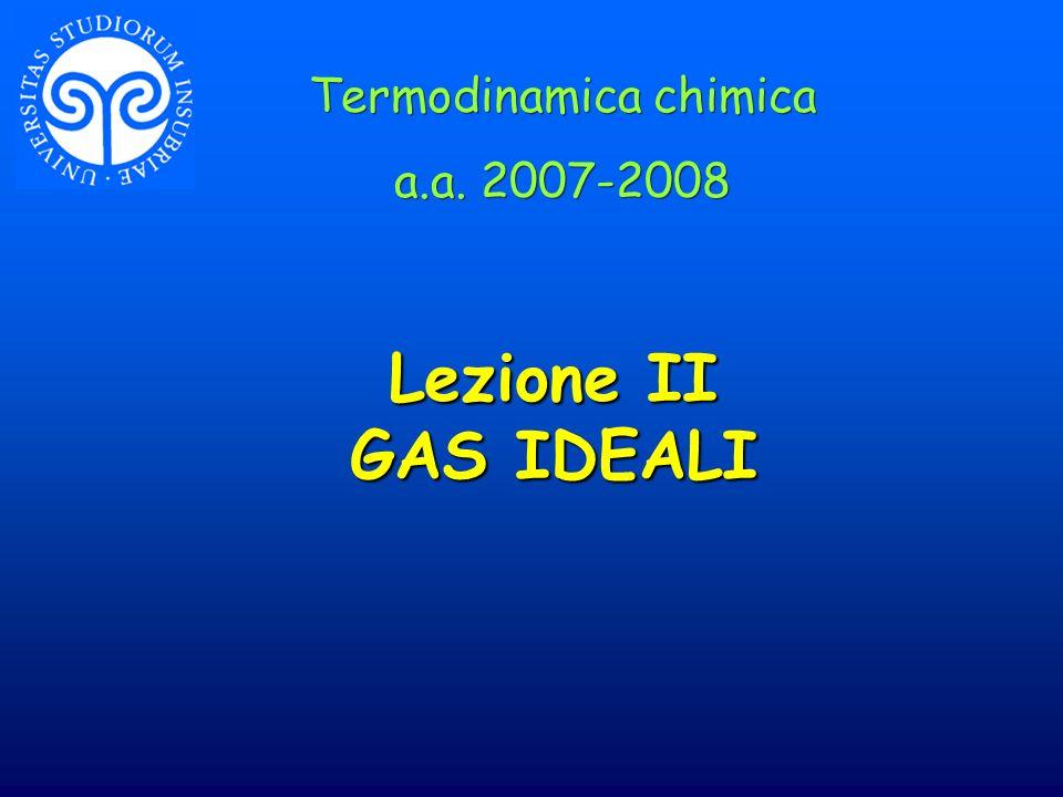 Lezione II GAS IDEALI Termodinamica chimica a.a. 2007-2008 Termodinamica chimica a.a. 2007-2008