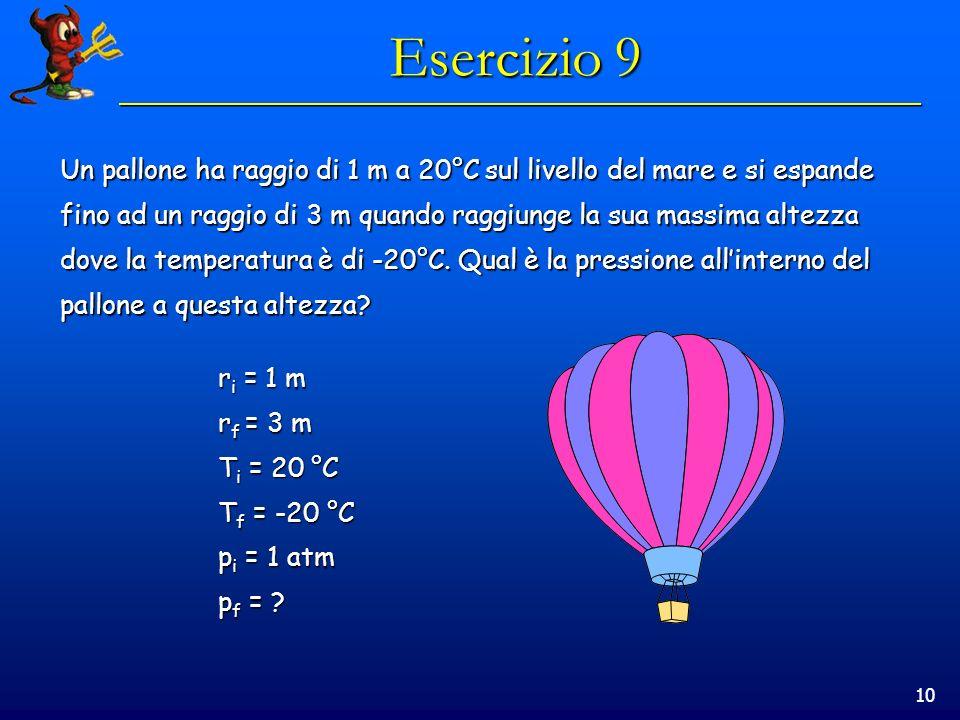 10 Esercizio 9 Un pallone ha raggio di 1 m a 20°C sul livello del mare e si espande fino ad un raggio di 3 m quando raggiunge la sua massima altezza dove la temperatura è di -20°C.