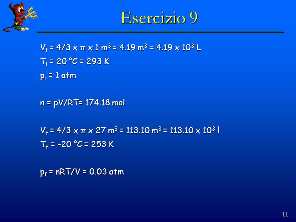 11 Esercizio 9 V i = 4/3 x π x 1 m 3 = 4.19 m 3 = 4.19 x 10 3 L T i = 20 °C = 293 K p i = 1 atm n = pV/RT= 174.18 mol V f = 4/3 x π x 27 m 3 = 113.10 m 3 = 113.10 x 10 3 l T f = -20 °C = 253 K p f = nRT/V = 0.03 atm