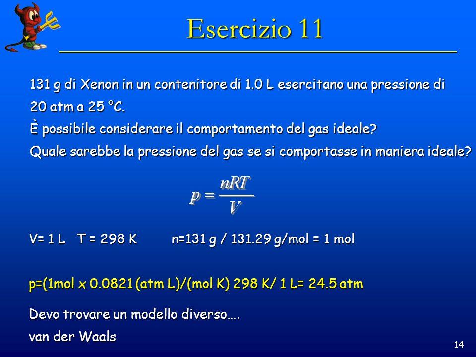 14 Esercizio 11 131 g di Xenon in un contenitore di 1.0 L esercitano una pressione di 20 atm a 25 °C. È possibile considerare il comportamento del gas