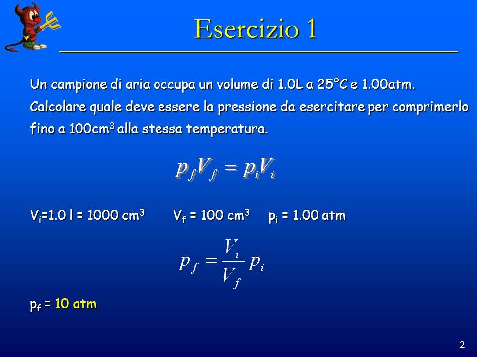 2 Esercizio 1 Un campione di aria occupa un volume di 1.0L a 25°C e 1.00atm. Calcolare quale deve essere la pressione da esercitare per comprimerlo fi