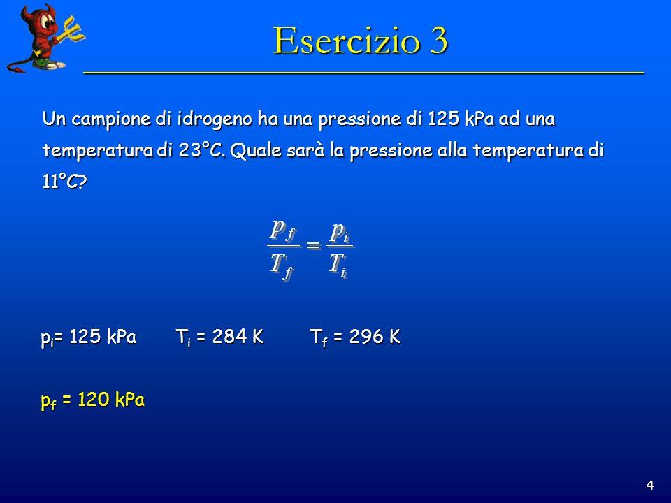 4 Esercizio 3 Un campione di idrogeno ha una pressione di 125 kPa ad una temperatura di 23°C. Quale sarà la pressione alla temperatura di 11°C? p i =
