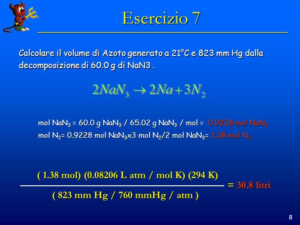 8 Esercizio 7 Calcolare il volume di Azoto generato a 21°C e 823 mm Hg dalla decomposizione di 60.0 g di NaN3. mol NaN 3 = 60.0 g NaN 3 / 65.02 g NaN
