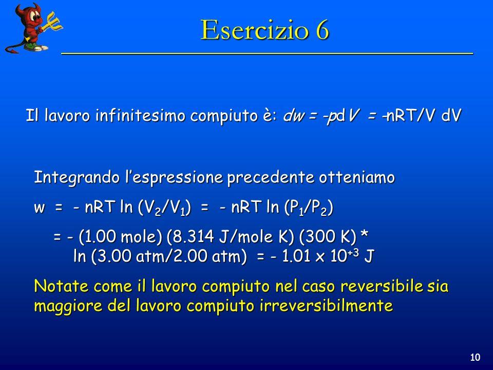 10 Esercizio 6 Integrando lespressione precedente otteniamo w = - nRT ln (V 2 /V 1 ) = - nRT ln (P 1 /P 2 ) = - (1.00 mole) (8.314 J/mole K) (300 K) * ln (3.00 atm/2.00 atm) = - 1.01 x 10 +3 J = - (1.00 mole) (8.314 J/mole K) (300 K) * ln (3.00 atm/2.00 atm) = - 1.01 x 10 +3 J Notate come il lavoro compiuto nel caso reversibile sia maggiore del lavoro compiuto irreversibilmente Il lavoro infinitesimo compiuto è: dw = -pdV = -nRT/V dV