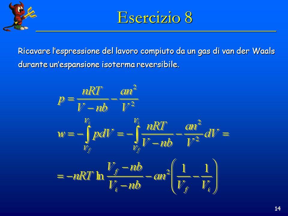 14 Esercizio 8 Ricavare lespressione del lavoro compiuto da un gas di van der Waals durante unespansione isoterma reversibile.