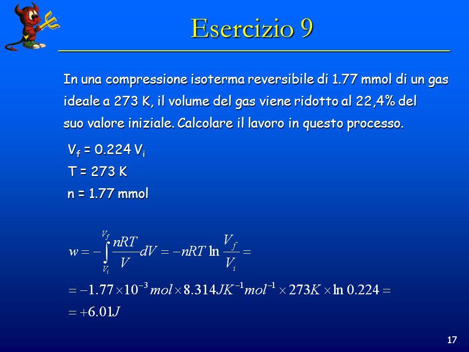 17 Esercizio 9 In una compressione isoterma reversibile di 1.77 mmol di un gas ideale a 273 K, il volume del gas viene ridotto al 22,4% del suo valore iniziale.