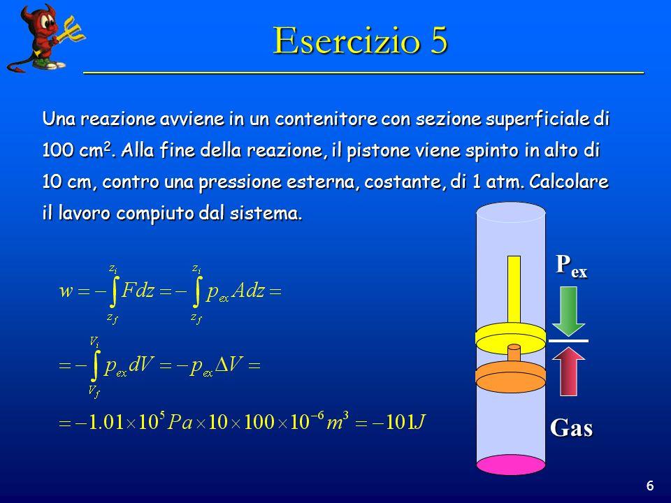 6 Esercizio 5 Una reazione avviene in un contenitore con sezione superficiale di 100 cm 2.