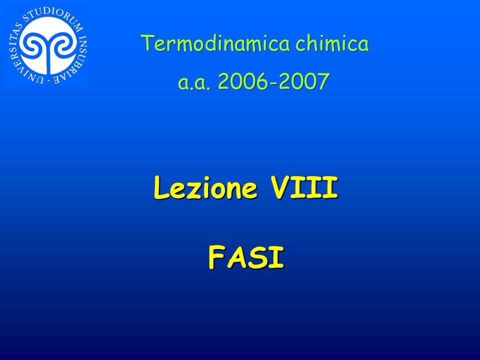 Lezione VIII FASI Termodinamica chimica a.a. 2006-2007 Termodinamica chimica a.a. 2006-2007