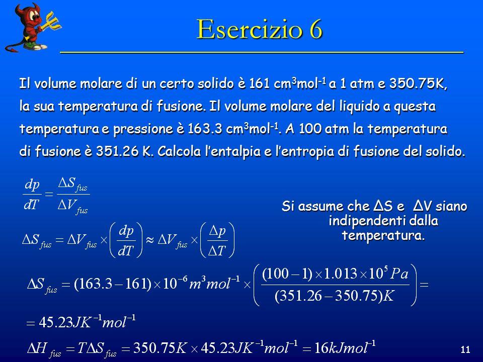 11 Esercizio 6 Il volume molare di un certo solido è 161 cm 3 mol -1 a 1 atm e 350.75K, la sua temperatura di fusione.