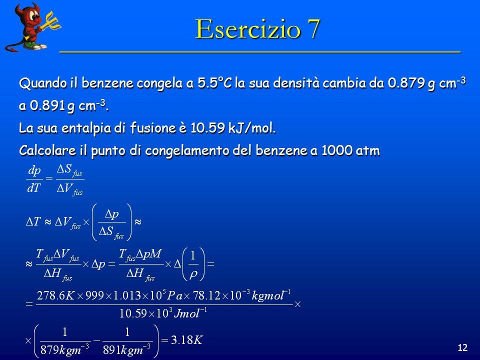 12 Esercizio 7 Quando il benzene congela a 5.5°C la sua densità cambia da 0.879 g cm -3 a 0.891 g cm -3.