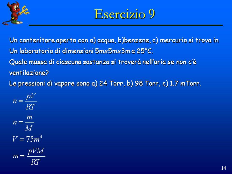 14 Esercizio 9 Un contenitore aperto con a) acqua, b)benzene, c) mercurio si trova in Un laboratorio di dimensioni 5mx5mx3m a 25°C.