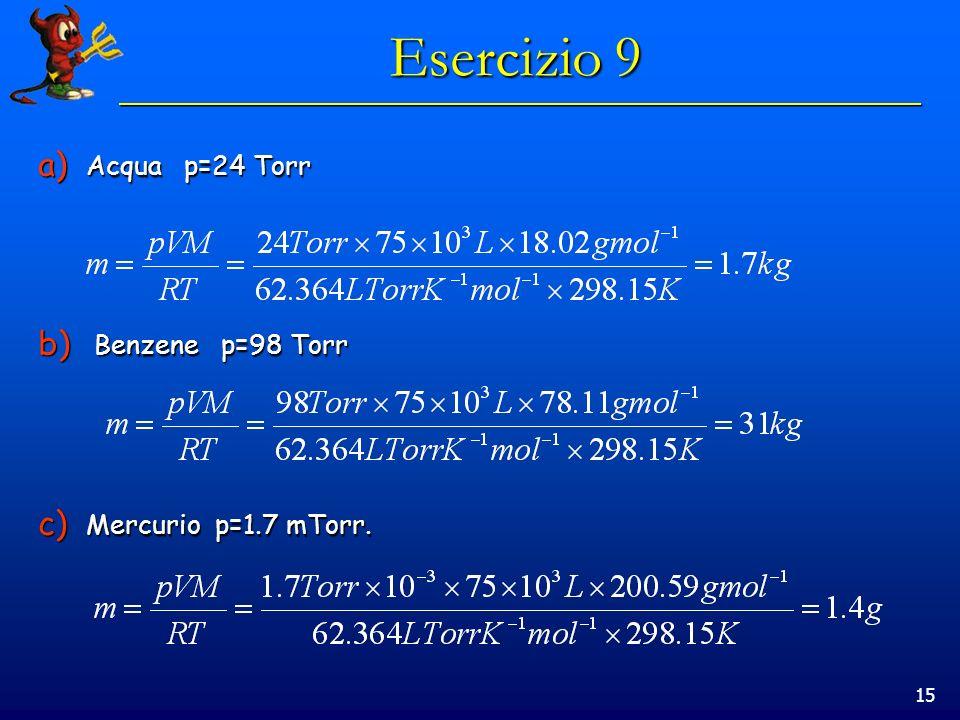 15 Esercizio 9 a) Acqua p=24 Torr b) Benzene p=98 Torr c) Mercurio p=1.7 mTorr.