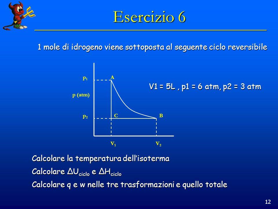 12 Esercizio 6 1 mole di idrogeno viene sottoposta al seguente ciclo reversibile V1 = 5L, p1 = 6 atm, p2 = 3 atm p (atm) A BC V2V2 p2p2 p1p1 V1V1 Calc