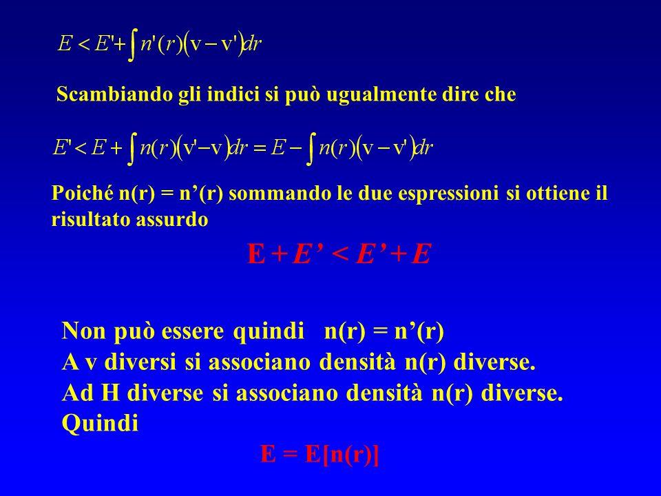 Non può essere quindi n(r) = n(r) A v diversi si associano densità n(r) diverse. Ad H diverse si associano densità n(r) diverse. Quindi E = E[n(r)] Sc