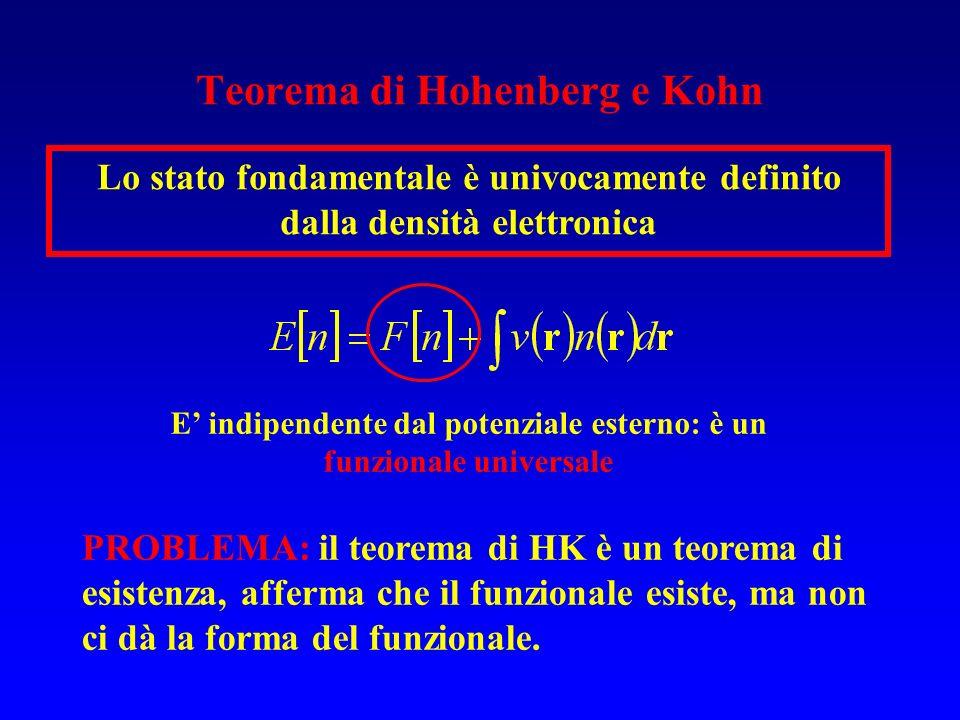Teorema di Hohenberg e Kohn Lo stato fondamentale è univocamente definito dalla densità elettronica E indipendente dal potenziale esterno: è un funzio