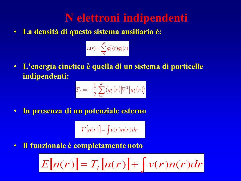 N elettroni indipendenti La densità di questo sistema ausiliario è: Lenergia cinetica è quella di un sistema di particelle indipendenti: In presenza d
