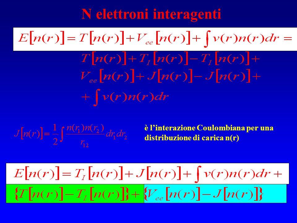 N elettroni interagenti è linterazione Coulombiana per una distribuzione di carica n(r)