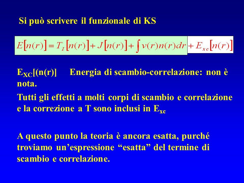 E XC [(n(r)] Energia di scambio-correlazione: non è nota. Tutti gli effetti a molti corpi di scambio e correlazione e la correzione a T sono inclusi i