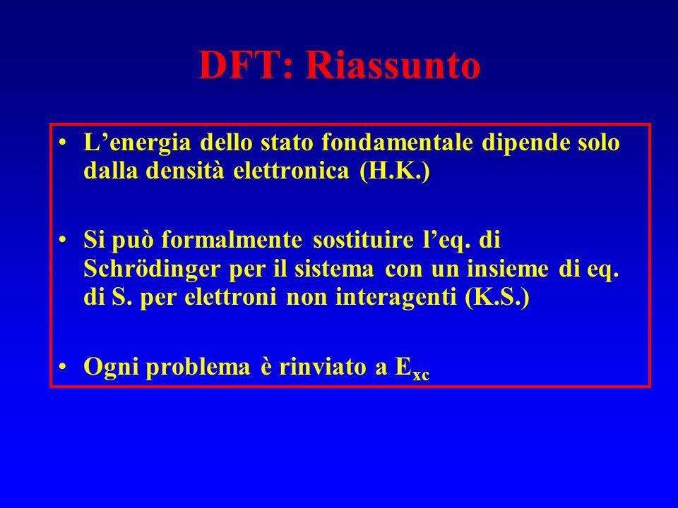 DFT: Riassunto Lenergia dello stato fondamentale dipende solo dalla densità elettronica (H.K.) Si può formalmente sostituire leq. di Schrödinger per i