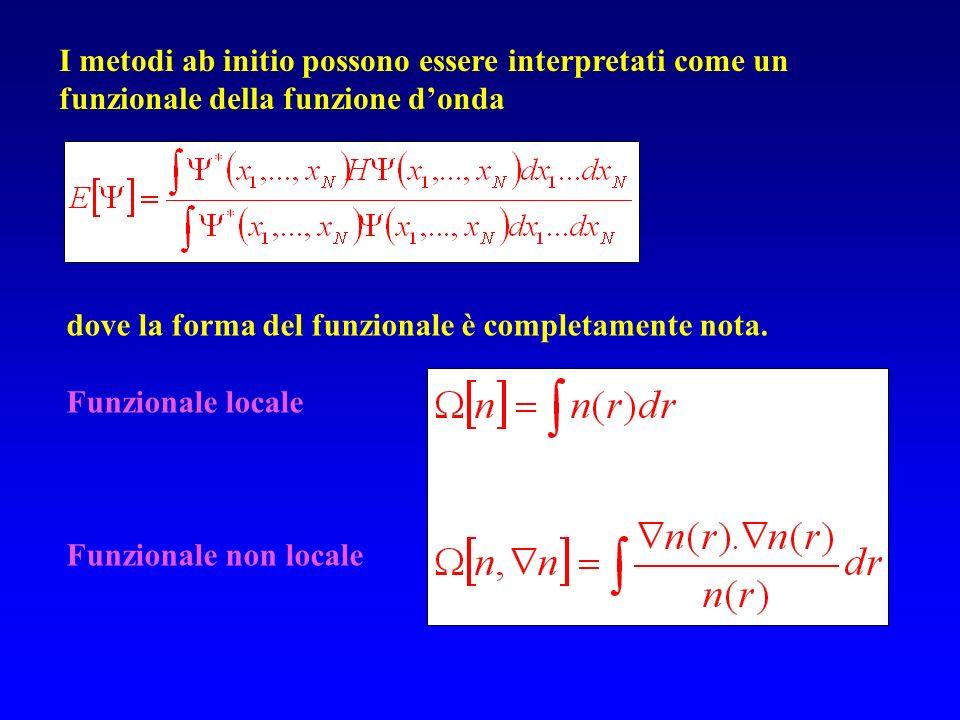 Verso la teoria del Funzionale della Densità Il punto fondamentale della teoria del Funzionale della Densità è che la complicata funzione donda elettronica a molti corpi può essere sostituita con una quantità molto più semplice, la densità elettronica Una funzione scalare della posizione, n(r), determina tutte le informazioni contenute nella funzione donda dello stato fondamentale.