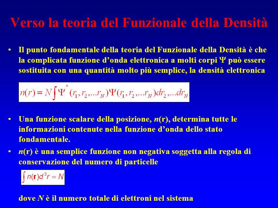 Verso la teoria del Funzionale della Densità Il punto fondamentale della teoria del Funzionale della Densità è che la complicata funzione donda elettr