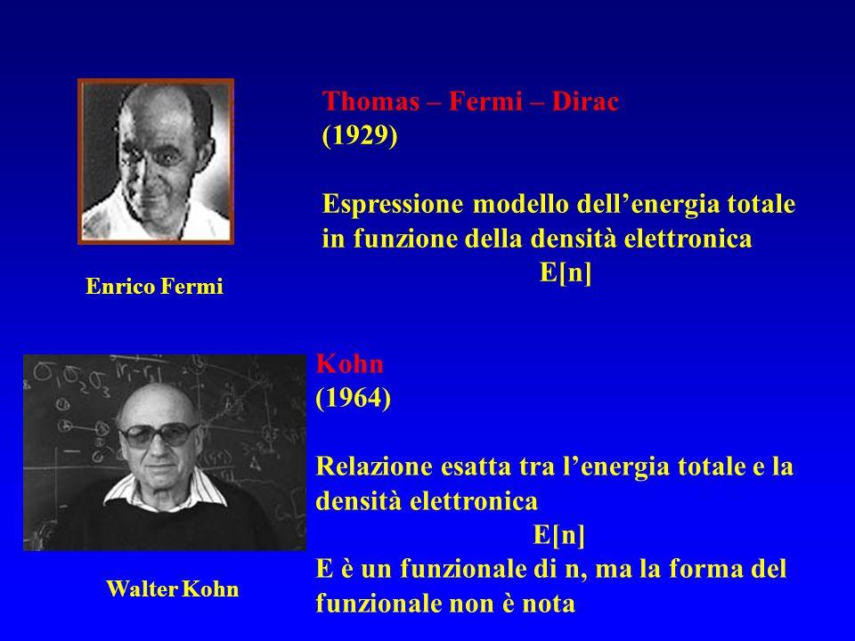 Thomas – Fermi – Dirac (1929) Espressione modello dellenergia totale in funzione della densità elettronica E[n] Enrico Fermi Walter Kohn Kohn (1964) R