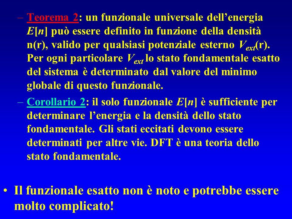 –Teorema 2: un funzionale universale dellenergia E[n] può essere definito in funzione della densità n(r), valido per qualsiasi potenziale esterno V ex