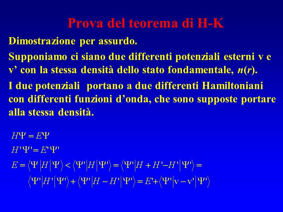 Prova del teorema di H-K Dimostrazione per assurdo. Supponiamo ci siano due differenti potenziali esterni v e v con la stessa densità dello stato fond