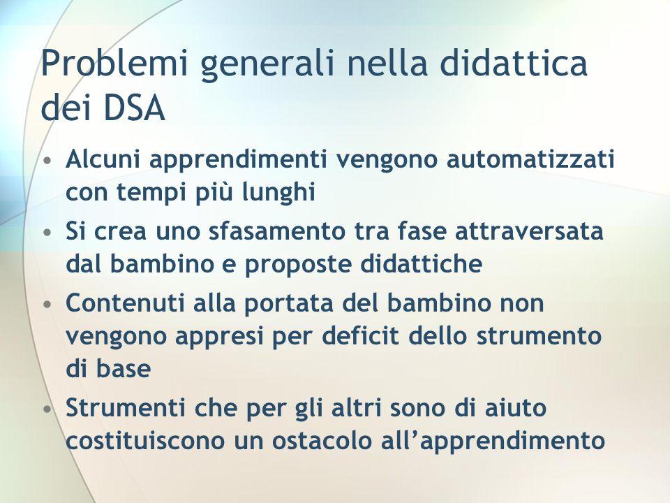 Problemi generali nella didattica dei DSA Alcuni apprendimenti vengono automatizzati con tempi più lunghi Si crea uno sfasamento tra fase attraversata