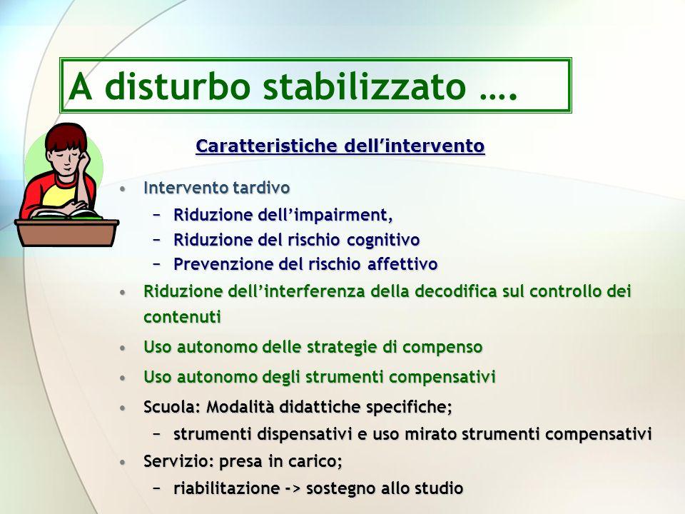 Caratteristiche dellintervento Intervento tardivoIntervento tardivo Riduzione dellimpairment,Riduzione dellimpairment, Riduzione del rischio cognitivo