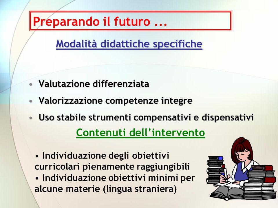 Modalità didattiche specifiche Valutazione differenziataValutazione differenziata Valorizzazione competenze integreValorizzazione competenze integre U