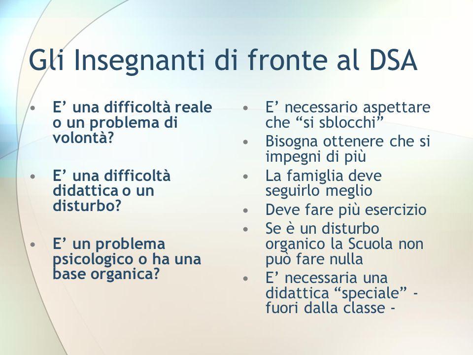 Gli Insegnanti di fronte al DSA E una difficoltà reale o un problema di volontà? E una difficoltà didattica o un disturbo? E un problema psicologico o