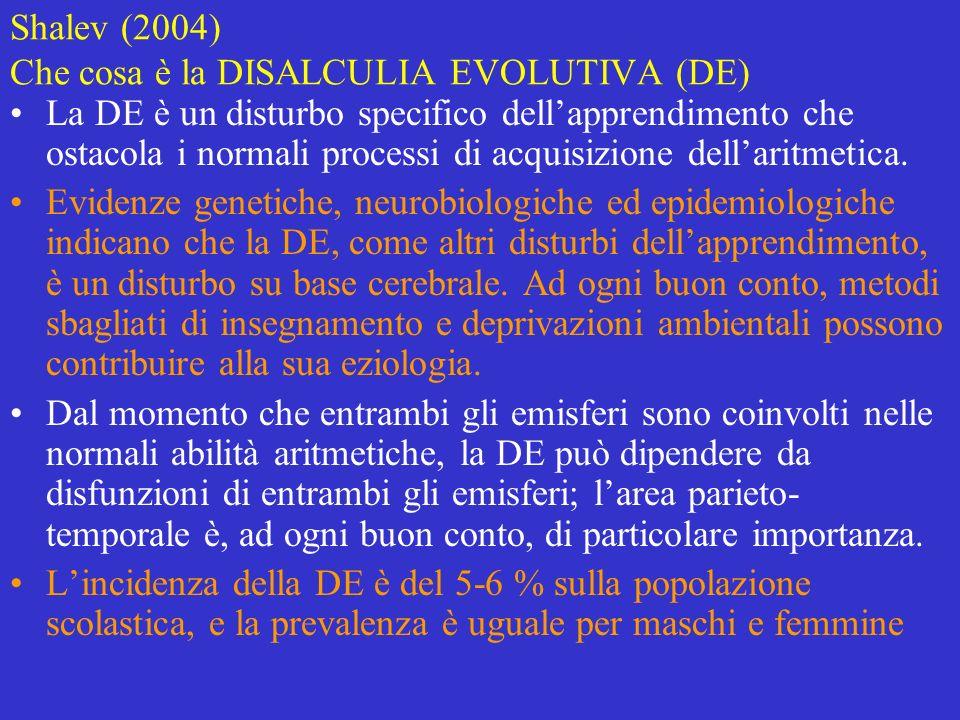 Shalev (2004) Che cosa è la DISALCULIA EVOLUTIVA (DE) La DE è un disturbo specifico dellapprendimento che ostacola i normali processi di acquisizione