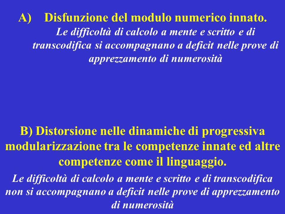 A)Disfunzione del modulo numerico innato. Le difficoltà di calcolo a mente e scritto e di transcodifica si accompagnano a deficit nelle prove di appre