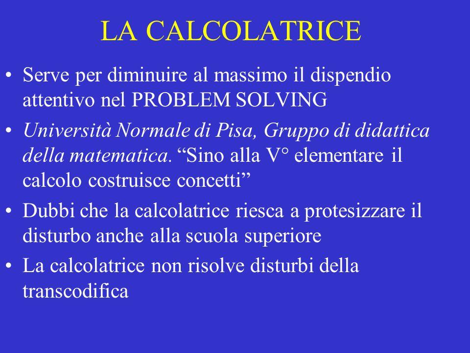 LA CALCOLATRICE Serve per diminuire al massimo il dispendio attentivo nel PROBLEM SOLVING Università Normale di Pisa, Gruppo di didattica della matema