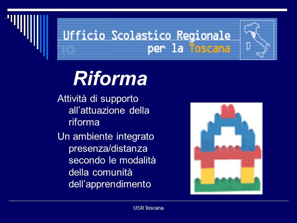 USR Toscana Riforma Attività di supporto allattuazione della riforma Un ambiente integrato presenza/distanza secondo le modalità della comunità dellap