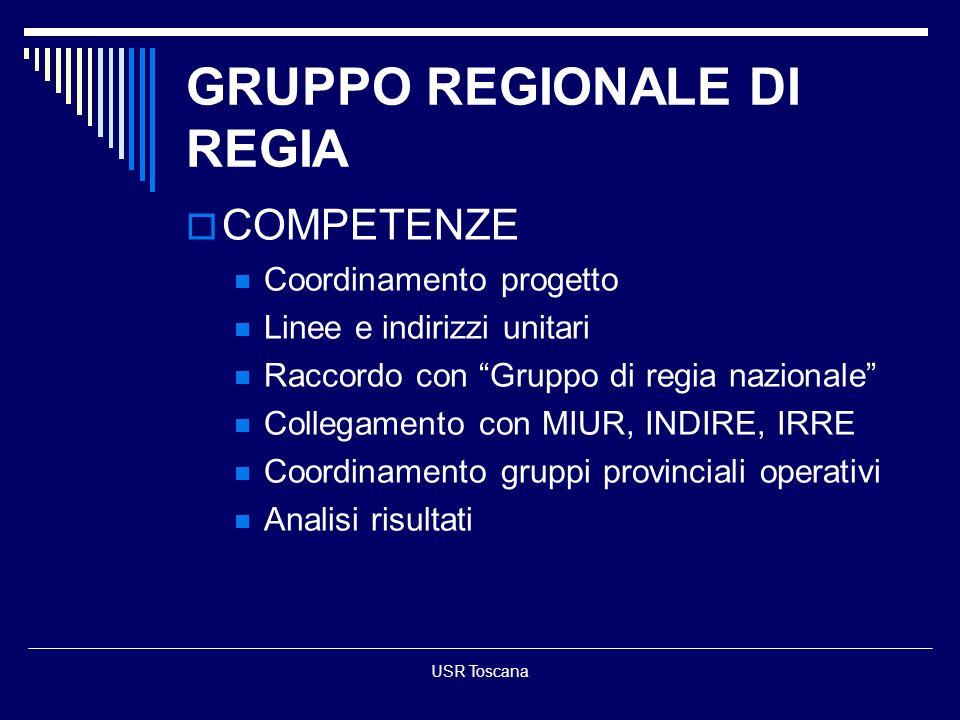 USR Toscana GRUPPO REGIONALE DI REGIA COMPETENZE Coordinamento progetto Linee e indirizzi unitari Raccordo con Gruppo di regia nazionale Collegamento