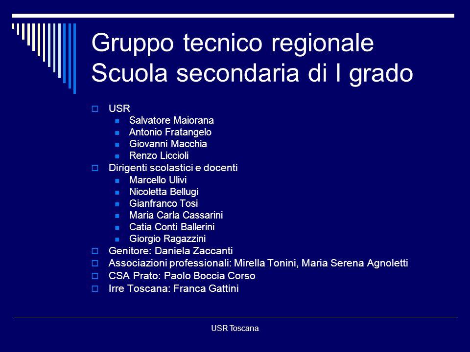 USR Toscana Gruppo tecnico regionale Scuola secondaria di I grado USR Salvatore Maiorana Antonio Fratangelo Giovanni Macchia Renzo Liccioli Dirigenti