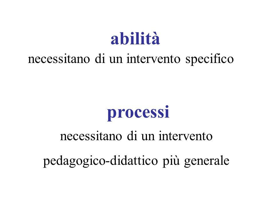 abilità necessitano di un intervento specifico processi necessitano di un intervento pedagogico-didattico più generale