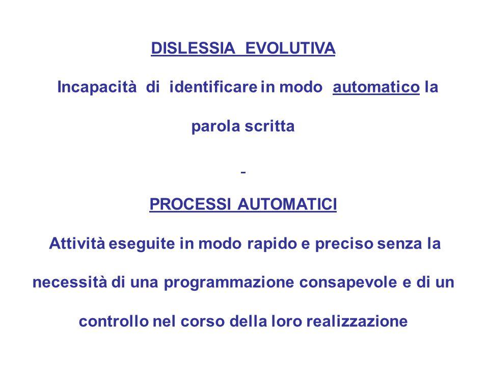 DISLESSIA EVOLUTIVA Incapacità di identificare in modo automatico la parola scritta PROCESSI AUTOMATICI Attività eseguite in modo rapido e preciso senza la necessità di una programmazione consapevole e di un controllo nel corso della loro realizzazione