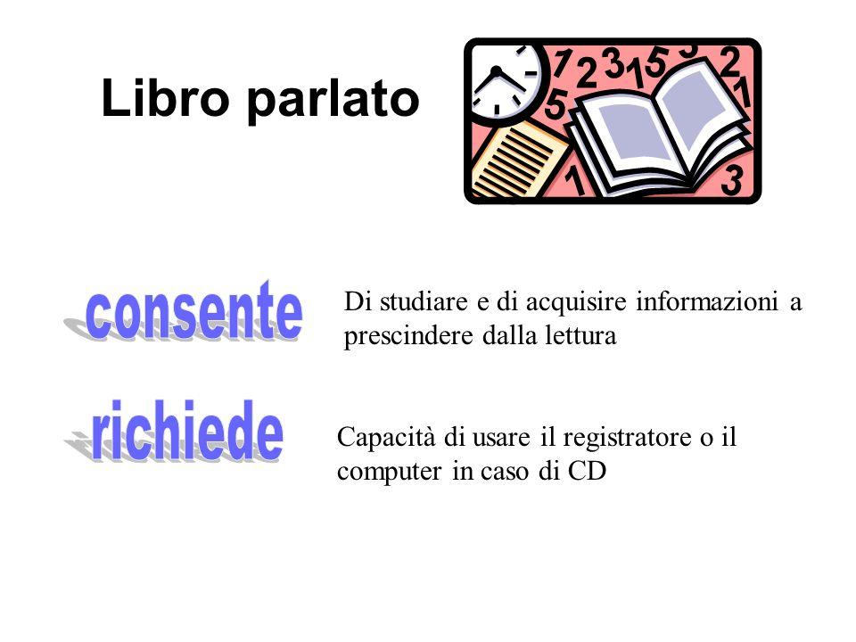Libro parlato Di studiare e di acquisire informazioni a prescindere dalla lettura Capacità di usare il registratore o il computer in caso di CD