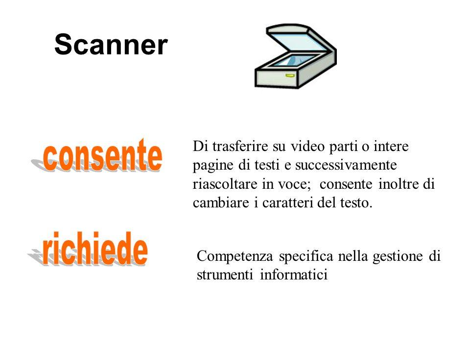 Scanner Di trasferire su video parti o intere pagine di testi e successivamente riascoltare in voce; consente inoltre di cambiare i caratteri del testo.