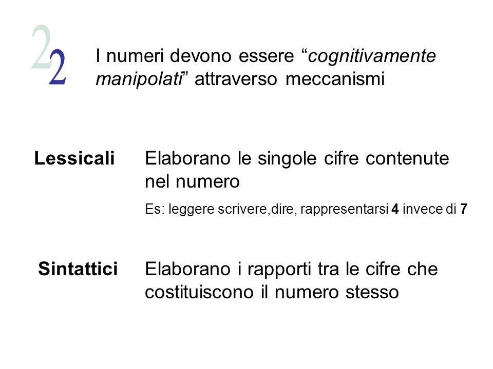 I numeri devono essere cognitivamente manipolati attraverso meccanismi Lessicali Sintattici Elaborano le singole cifre contenute nel numero Es: leggere scrivere,dire, rappresentarsi 4 invece di 7 Elaborano i rapporti tra le cifre che costituiscono il numero stesso