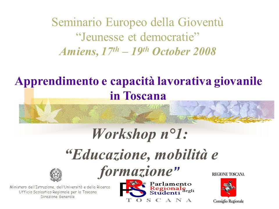 Workshop n°1: Educazione, mobilità e formazione Seminario Europeo della Gioventù Jeunesse et democratie Amiens, 17 th – 19 th October 2008 Ministero d