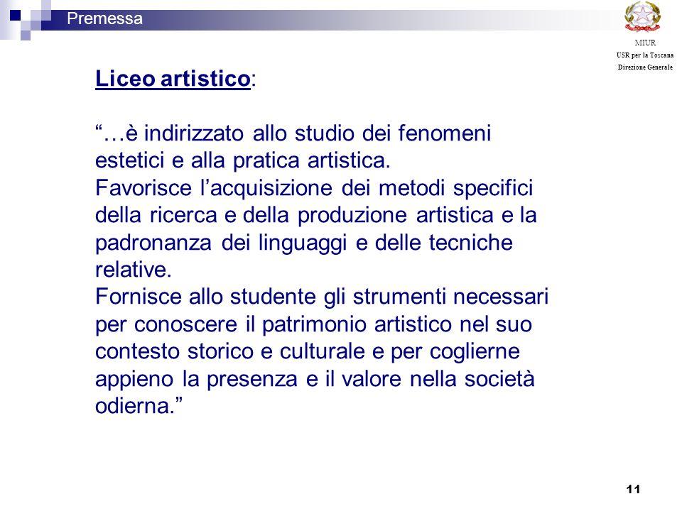 11 Liceo artistico: …è indirizzato allo studio dei fenomeni estetici e alla pratica artistica. Favorisce lacquisizione dei metodi specifici della rice