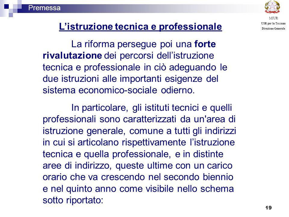 19 Listruzione tecnica e professionale La riforma persegue poi una forte rivalutazione dei percorsi dellistruzione tecnica e professionale in ciò adeg