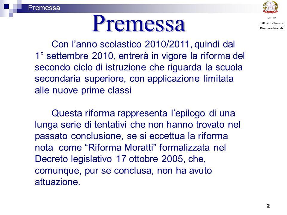 23 Listruzione tecnica è divisa in: 2 settori Settore economico con 2 indirizzi Settore tecnologico con 9 indirizzi Premessa MIUR USR per la Toscana Direzione Generale