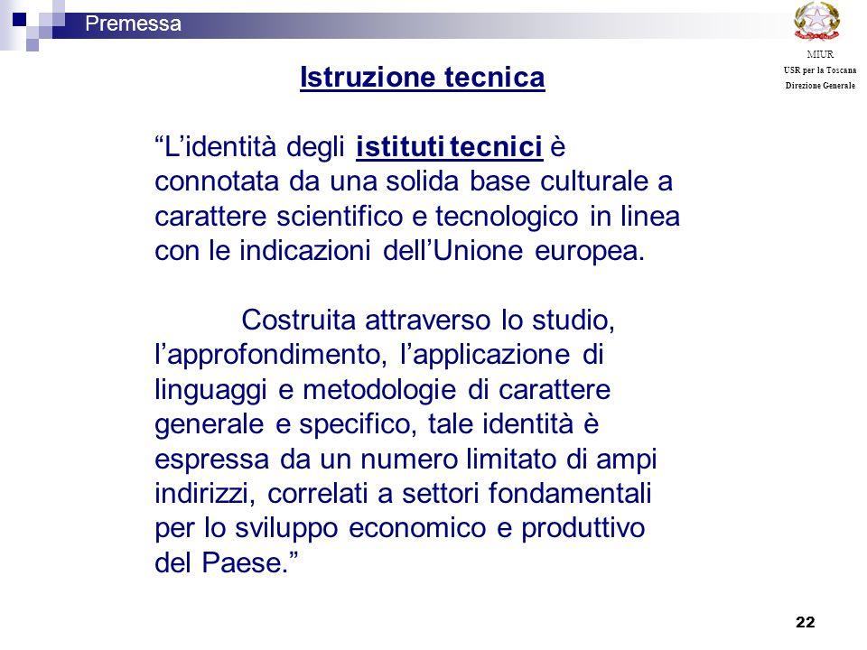 22 Istruzione tecnica Lidentità degli istituti tecnici è connotata da una solida base culturale a carattere scientifico e tecnologico in linea con le