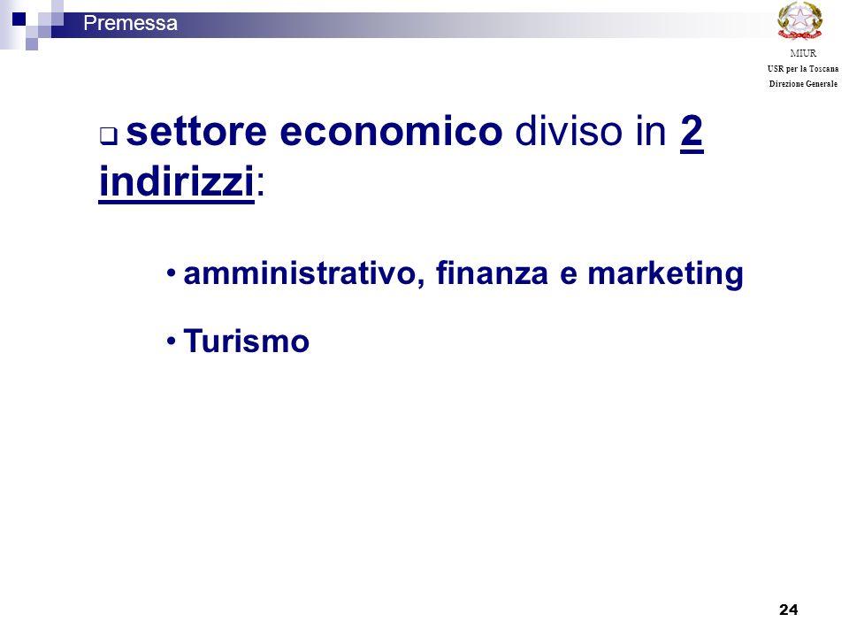 24 settore economico diviso in 2 indirizzi: amministrativo, finanza e marketing Turismo Premessa MIUR USR per la Toscana Direzione Generale